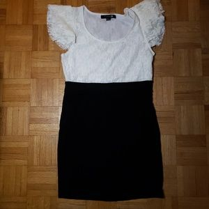 Forever 21 Lace and Knit Mini Dress, White and Bla